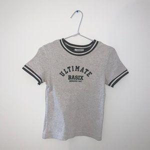 3/$20 Varsity Style Tee Shirt Grey Striped Bossini